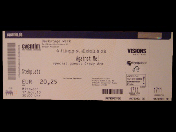 Against Me! Ticket für November 2010 in München