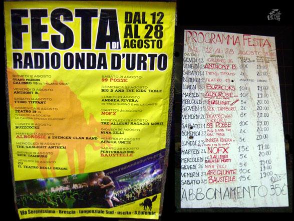Festa Di Radio Onda D'Urto - Brescia 2010 - Poster