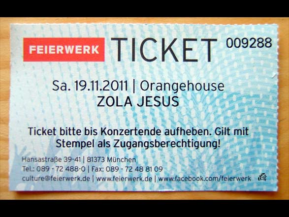 Zola Jesus - Ticket